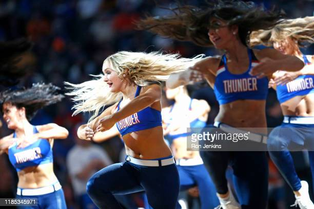 The Thunder Girls perform as the New Orleans Pelicans play the Oklahoma City Thunder during the second half at Chesapeake Energy Arena on November 2,...