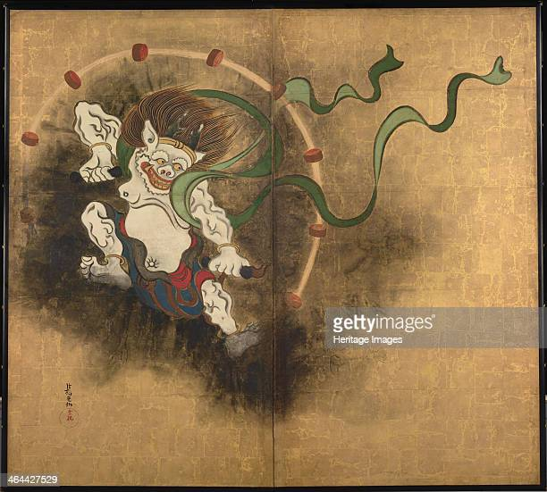 The Thunder God Left part of twofold screens Wind God and Thunder God Early 18th cen Found in the collection of the Tokyo National Museum