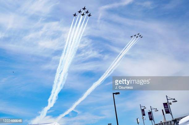 The Thunderbirds and Blue Angels preform a flyover over Camden Yards Stadium Complex on May 02 2020 in Baltimore Maryland The Blue Angels and...
