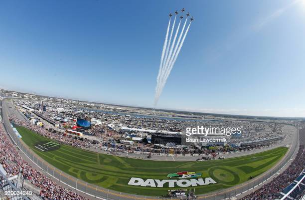 The Thunderbirds perform a flyover prior to the start of the Monster Energy NASCAR Cup Series 60th Annual Daytona 500 at Daytona International...