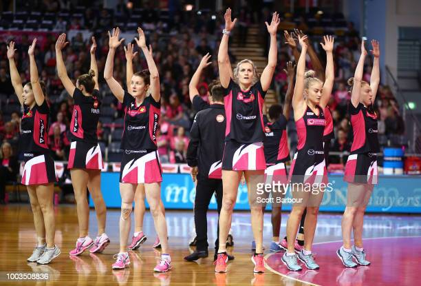 Kate Shimmin of the Thunderbirds competes for the ball during the Super Netball match between the Thunderbirds and the Lightning at Priceline Stadium...