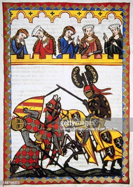 The Thurgau poet Walter von Klingen , Knight of Rudolf I of Habsburg, defeats another knight in a tournament, Codex Manesse by Rudiger Manesse and...