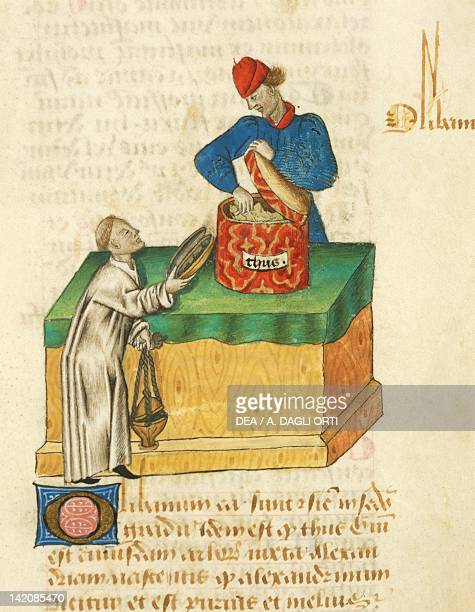 The thyme seller miniature from Tractatus de herbis Latin manuscript by Dioscorides Est 28 e M 59 folio 104 recto France 15th Century