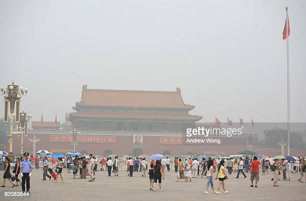 The Tiananmen Square is shrouded with heavy smog on July 28, 2008 in Beijing, China. Pollution levels remained high just 11 days before the Olympics....