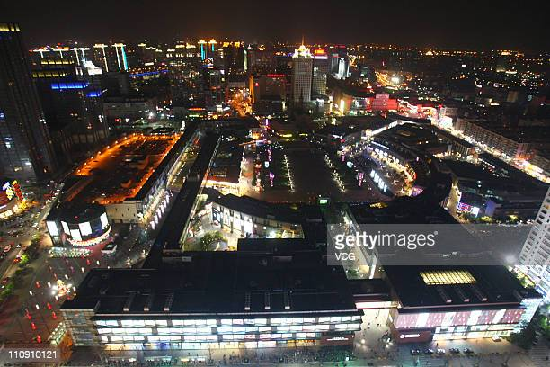 The Tianyi Square is seen before the Earth Hour 2011 power switch off on March 26 2011 in Ningbo Zhejiang Province of China About 86 Chinese cities...