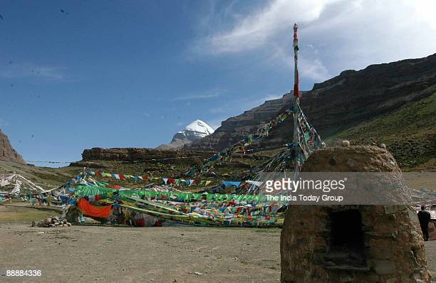 The Tibetan goodwill flag station called Tarbuche which is the gateway to Mount Kailash and from this place pilgrims begin their Parikrama Tarbuche...