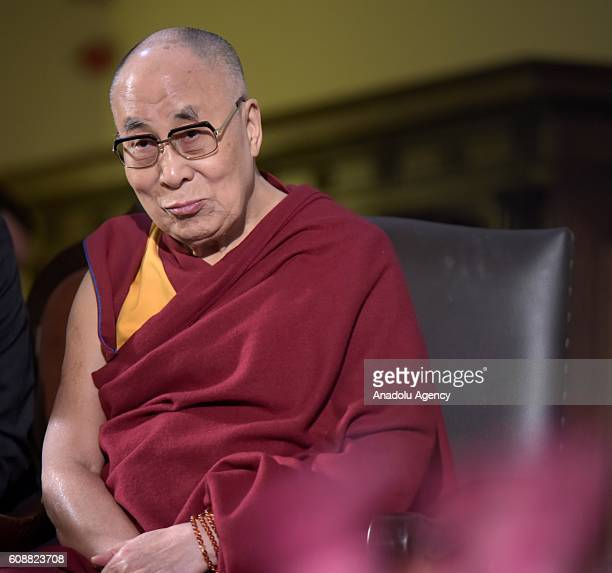 The Tibetan spiritual leader the Dalai Lama attends the welcoming ceremony at the Town Hall of Wroclaw during his visit to Poland on September 20 2016