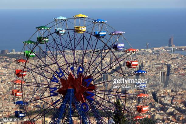 The Tibidabo ferris wheel looking out over Barcelona