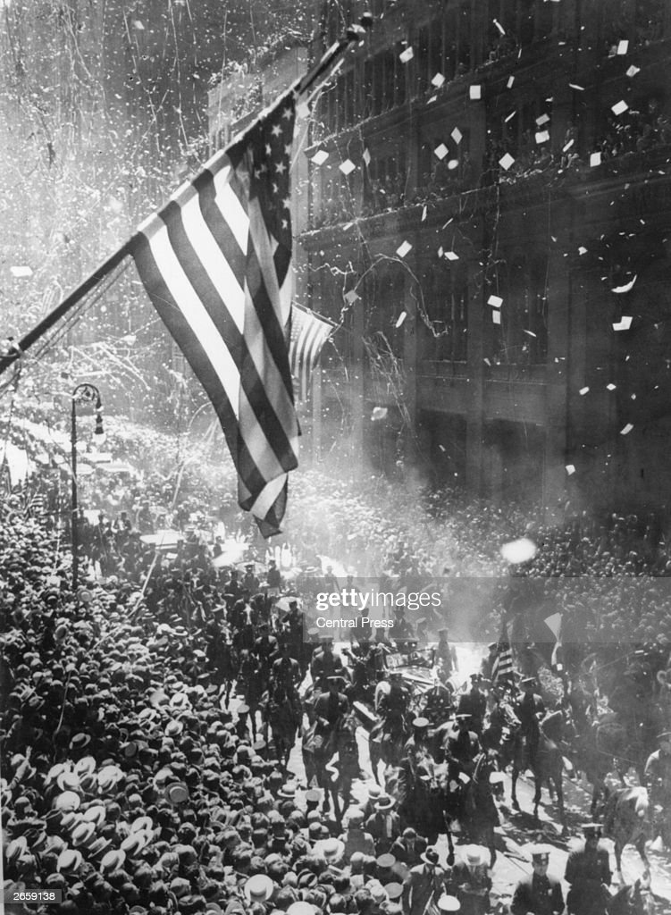 The tickertape parade in New York following Charles Lindbergh's arrival after his solo flight across the Atlantic.