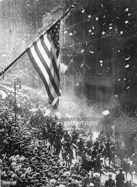 The tickertape parade in New York following Charles Lindbergh's arrival after his solo flight across the Atlantic