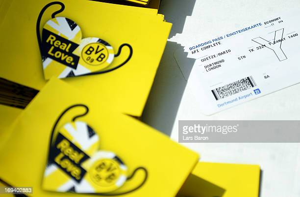The ticket of Mario Goetze of Borussia Dortmund is seen during their departure at Dortmund Airport on the eve of the UEFA Champions League Final on...