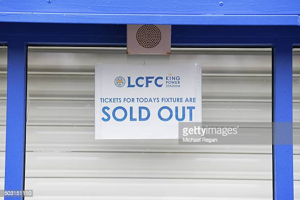 The ticket office is closed prior to the Barclays Premier League match between Leicester City and Bournemouth at The King Power Stadium on January 2...