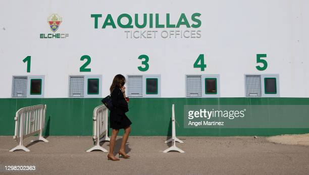 The ticket offices view outside the stadium prior to the La Liga Santander match between Elche CF and FC Barcelona at Estadio Martinez Valero on...