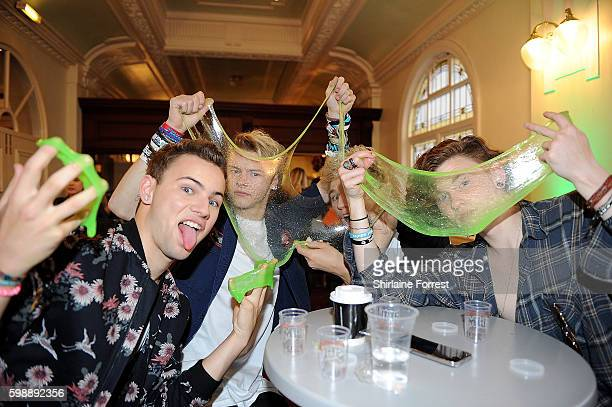 The Tide pose with slime during the first UK Nickelodeon SLIMEFEST at the Empress Ballroom on September 3 2016 in Blackpool England