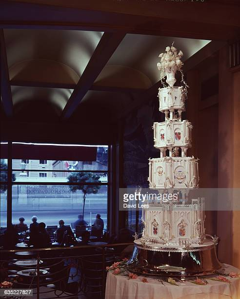 The tiered wedding cake for King Constantine's wedding He married Princess AnneMarie youngest daughter of Frederik IX of Denmark In April 1967 the...