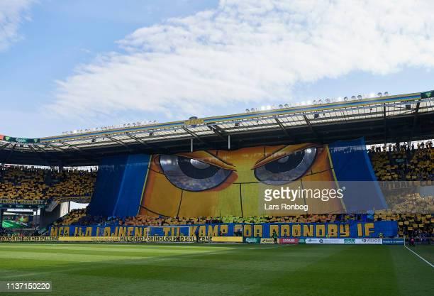 The tifo from the Brondby IF fans prior to the Danish Superliga match between Brondby IF and FC Copenhagen at Brondby Stadion on April 14 2019 in...