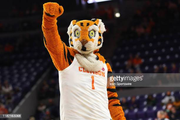 The Tiger Clemson's mascot during a college basketball game between the Colgate Raiders and the Clemson Tigers on November 10 2019 at Littlejohn...
