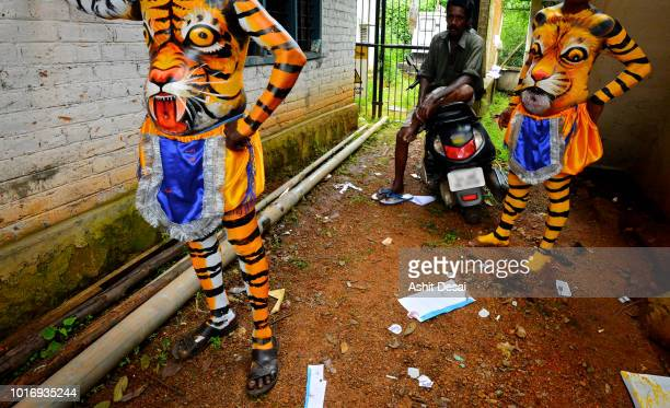 the tiger dance festival, trissur, kerala - vertebrate stock pictures, royalty-free photos & images