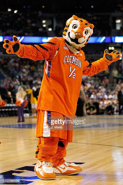 The Tiger mascot for the Clemson Tigers performs against the West Virginia Mountaineers during the second round of the 2011 NCAA men's basketball...