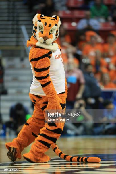 The Tiger mascot for the Clemson Tigers performs as they take on the New Mexico State Aggies in the first half in the first round of the 2018 NCAA...