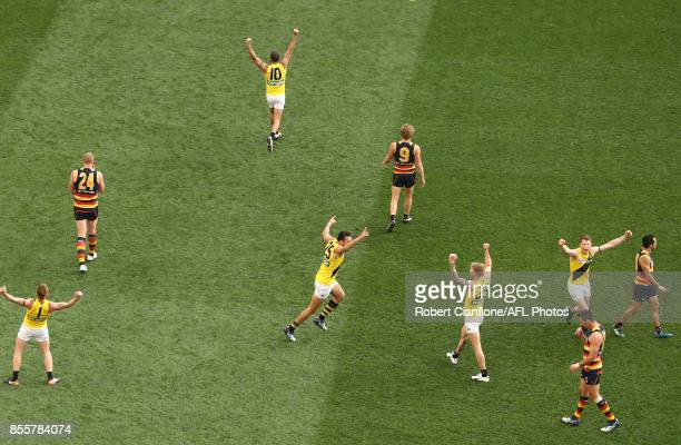 The Tigers celebrate after the defeated the Crows during the 2017 AFL Grand Final match between the Adelaide Crows and the Richmond Tigers at...