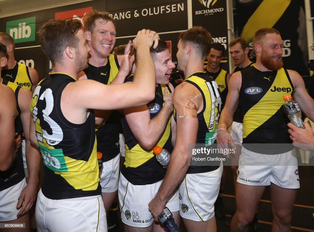 The Tigers celebrate after they defeated the Magpies during the AFL round six match between the Collingwood Magpies and Richmond Tigers at Melbourne Cricket Ground on April 29, 2018 in Melbourne, Australia.
