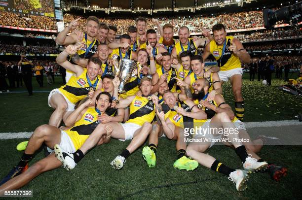 The Tigers celebrate after winning the 2017 Toyota AFL Grand Final match between the Adelaide Crows and the Richmond Tigers at the Melbourne Cricket...