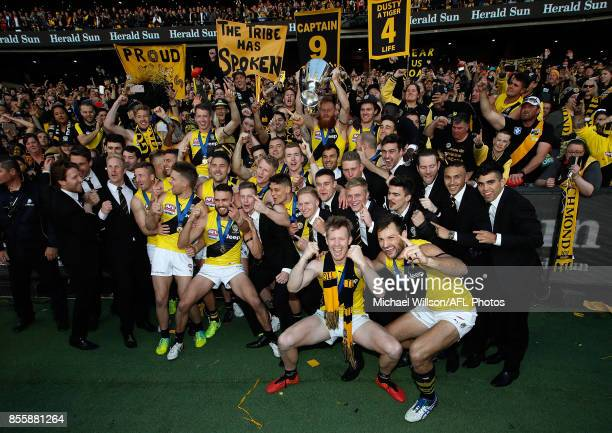 The Tigers celebrate during the 2017 Toyota AFL Grand Final match between the Adelaide Crows and the Richmond Tigers at the Melbourne Cricket Ground...
