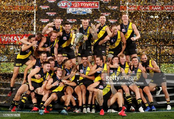 The Tigers celebrate during the 2020 Toyota AFL Grand Final match between the Richmond Tigers and the Geelong Cats at The Gabba on October 24, 2020...
