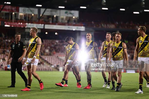The Tigers head out during the round 13 AFL match between the Essendon Bombers and the Richmond Tigers at TIO Stadium on August 22, 2020 in Darwin,...