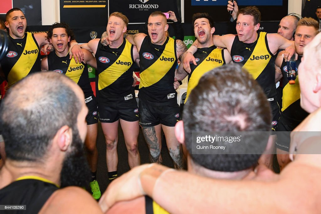 The Tigers sing the song in the rooms after winning the AFL Second Qualifying Final Match between the Geelong Cats and the Richmond Tigers at Melbourne Cricket Ground on September 8, 2017 in Melbourne, Australia.