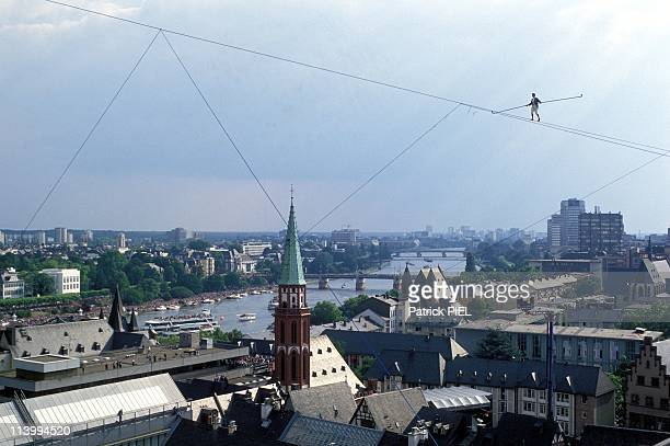 The tightrope walker Philippe Petit at Frankfurt church St Paul /the cathedral in Frankfurt Germany on June 12 1994