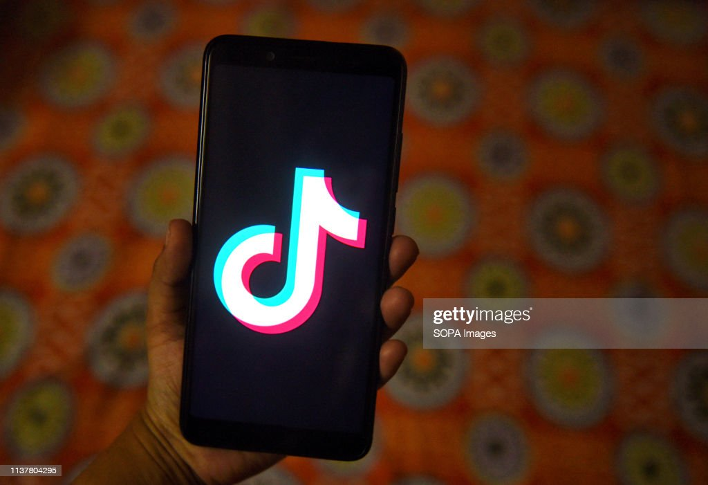 The tiktok application sign seen on a screen of an Android... : News Photo