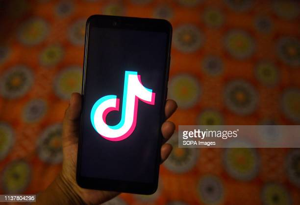 The tiktok application sign seen on a screen of an Android phone the application has been banned from India