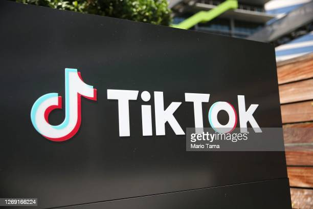 The TikTok logo is displayed outside a TikTok office on August 27, 2020 in Culver City, California. The Chinese-owned company is reportedly set to...