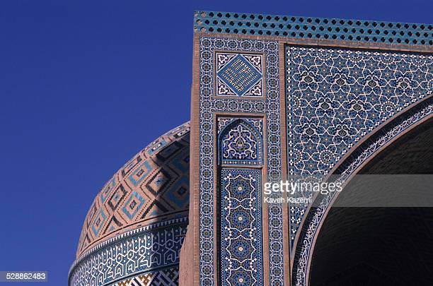 The tiled turquoise dome and entrance of Juma mosque in the old town in Yazd, Iran on October 2, 1995.