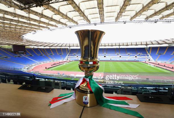 The Tim Cup trophy is displayed at Stadio Olimpico on May 13, 2019 in Rome, Italy.