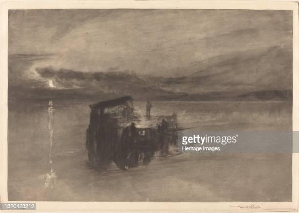 The Timber Raft on the Rhine, 1898. Artist Frank Short.