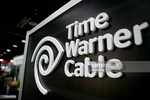 The Time Warner Cable Inc logo is seen on the exhibit floor during the National Cable and Telecommunications Association Cable Show in Washington DC...
