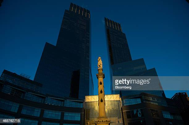 The Time Warner Center building stands at Columbus Circle in New York US on Friday Jan 24 2014 Time Warner Inc who sold its headquarters space at...