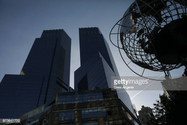 The Time Warner Center stands in Columbus Circle, June 12, 2018 in New York City. A federal judge today said that AT&T can move forward with its $85...