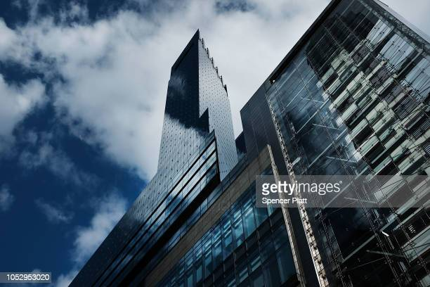 The Time Warner Center stands in midtown after an explosive device was found this morning on October 24, 2018 in New York City. CNN's office at the...