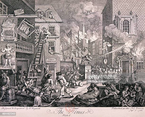 'The Times,' 1762. A representative of King George III fights a fire , which is burning down houses representing Germany and France, whilst William...