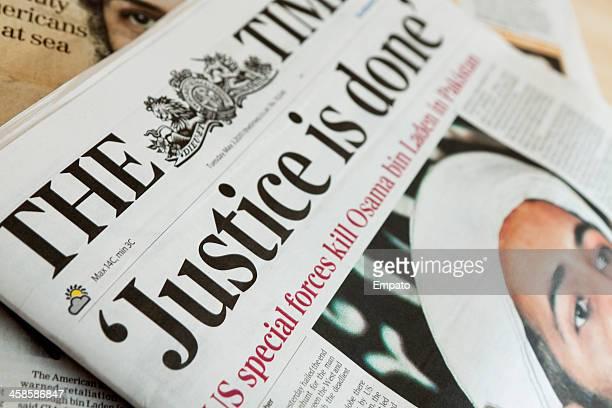 タイムズ紙報告オサマ・ビンラディンの死亡だ。 - ザ タイムズ ストックフォトと画像