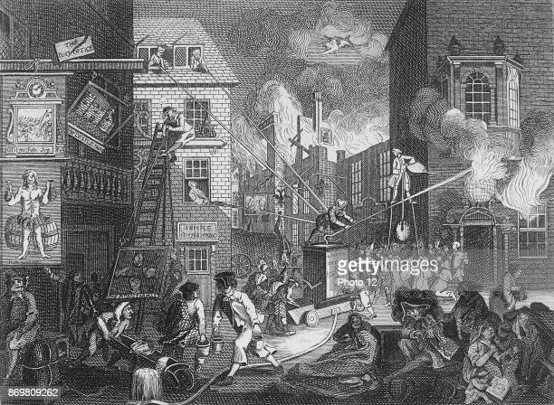 The Times Plate 1, , Engraving by William Hogarth; 18th century.