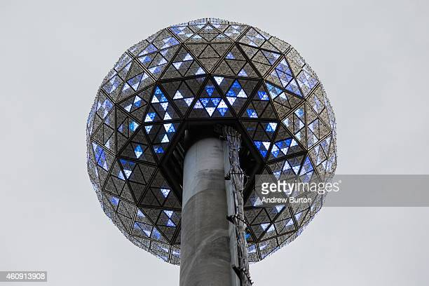 The Times Square crystal ball is tested one last time before tomorrow night's New Year's Eve celebration on December 30 2014 in New York City The...
