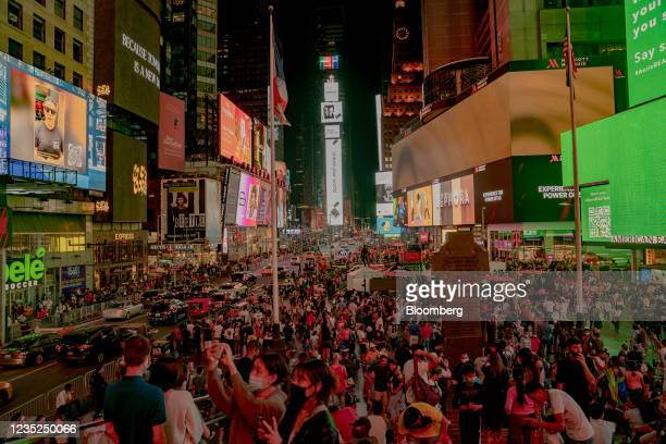 The Times Square neighborhood at night in New York, U.S., on Saturday, Sept. 4, 2021. This month, as Broadway theaters, Lincoln Center, and other...