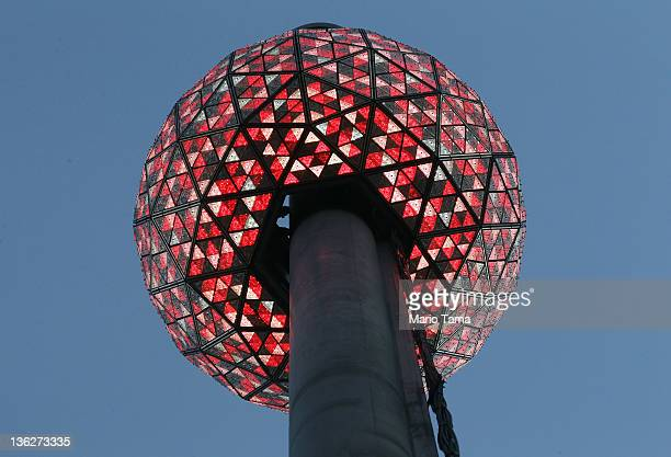 The Times Square New Year's Eve Ball is tested the day before New Year's Eve on December 30 2011 in New York City The 11875pound Waterford crystal...