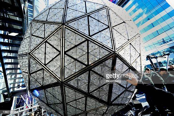 The Times Square New Year's Eve Ball is tested the day before New Year's Eve in New York US on Friday Dec 30 2011 The 11875pound Waterford crystal...