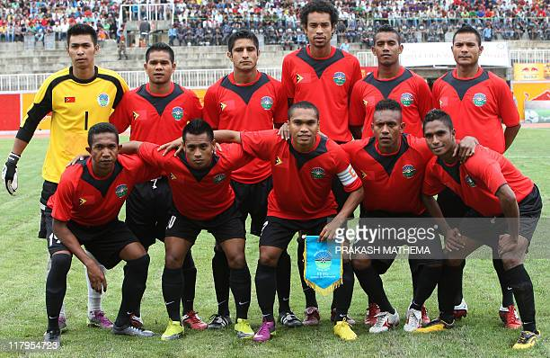 The TimorLeste national team poses before the second round of the 2014 FIFA World Cup football qualifying match between Nepal and TimorLeste in...